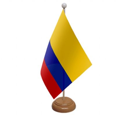 COLOMBIA - TABLE FLAG WITH WOODEN BASE